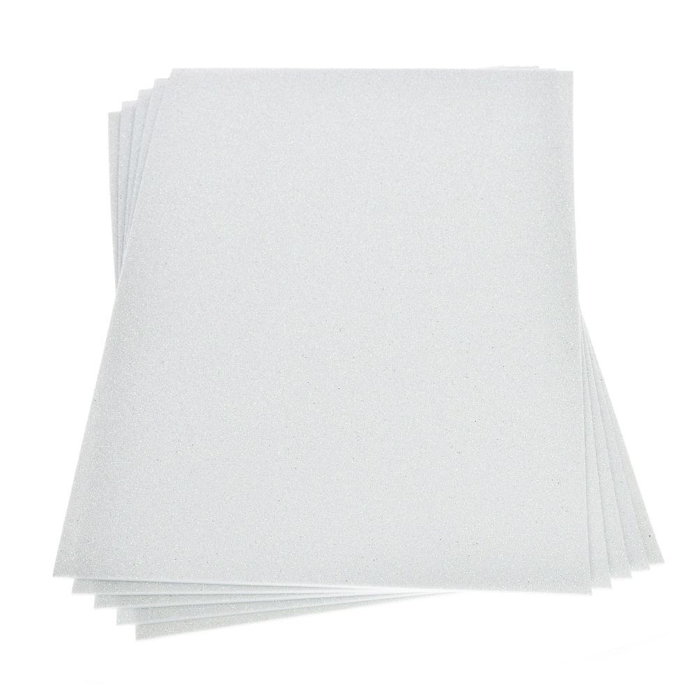 Moosgummiplatte glitter weiß