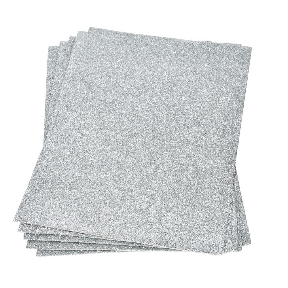 Moosgummiplatte glitter silber