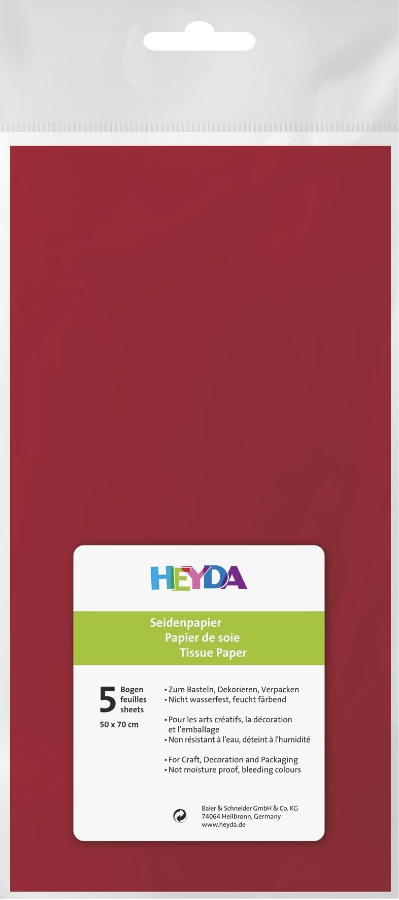 Seidenpapier rot 50x70cm 5 Bögen