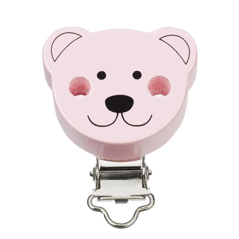 Schnullerkettenclip Bär rosa