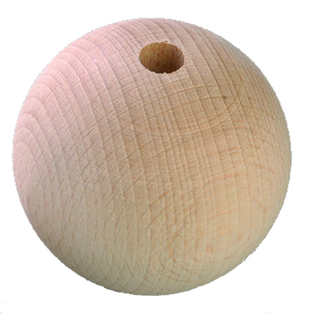Holzkugel 40mm mit Loch natur