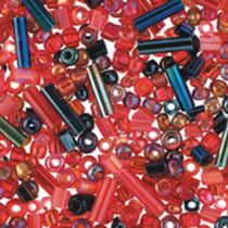 Indianer- und Stift-Perlen Mix rot
