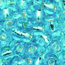 Indianerperlen 5,5 mm hellblau Silbereinzug