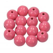 Holzperlen rosa 14mm 18 Stück speichelfest