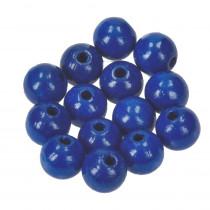 Holzperlen blau 14mm 18 Stück speichelfest