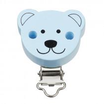Schnullerketteclip Bär hellblau