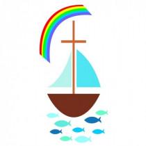 Wachsdekor Segelboot mit Regenbogen