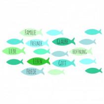 Wachsdekor Fische grün-blau Töne mit Text