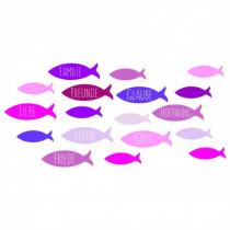 Wachsdekor Fische rosa-pink Töne mit Text