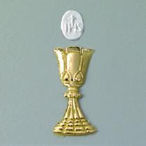 Wachsdekor Kelch+Hostie, gold, glänzend, 44 x 14 mm