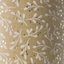 """Naturkarton """"Mistel"""" 50 x 70 cm weiß/goldfarben glänzend"""
