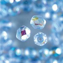 Glasfacettperlen hellblau irisierend