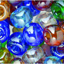 ndianerperlen-Mix transparent 6mm bunt