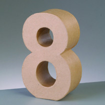 3D Deko-Papp-Zahl 8 10cm