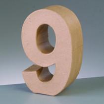 3D Deko-Papp-Zahl 9 10cm
