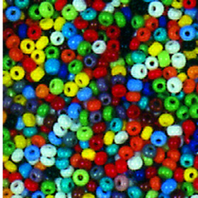 Indianerperlen bunt opak 3,5 mm 17 g farbig sortiert
