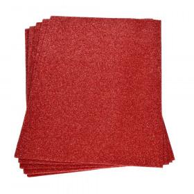 Moosgummiplatte glitter rot 2mm 20x30cm