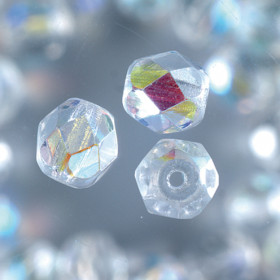 Glasfacettperlen klar irisierend 4mm 100 Stück