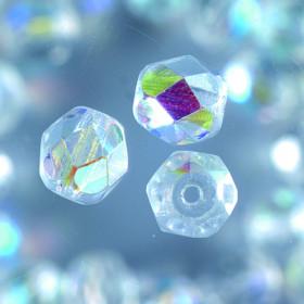 Glasfacettperlen 6mm klar rund, irisierend 50 Stk