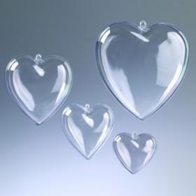 Kunststoff-Herz 6cm glasklar teilbar