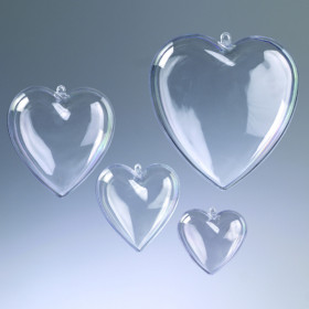 Kunststoff-Herz 8cm teilbar glasklar