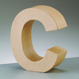 3D Dekobuchstabe aus Pappmache 10cm C