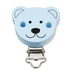 Schnuller Kettenclip Bär hellblau