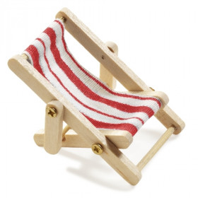 Mini-Liegestuhl 5 x 3,5 cm rot/weiß