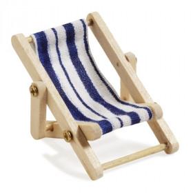 Mini-Liegestuhl 5 x 3,5 cm blau/weiß
