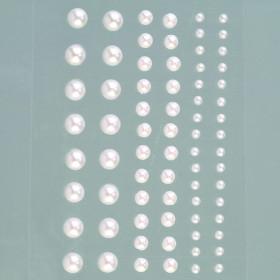 Halbperlen weiß 72 Stück, selbstklebend 3-7mm