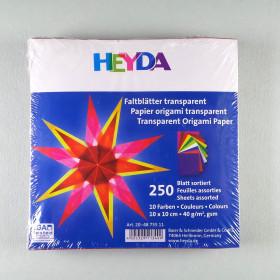 Origami Faltblätter transparent 10x10cm 250 Blätter sortiert