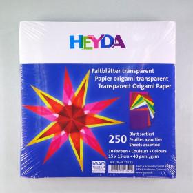Origami Faltblätter transparent 15x15cm 250 Blätter sortiert