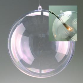 Kunststoffkugel mit Loch 16cm glasklar teilbar