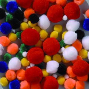 Pompons bunt gemischt 7 - 25mm